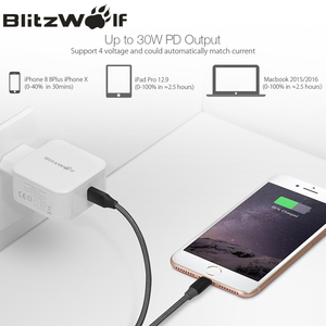 Image 5 - BlitzWolf USB Type C PD 30W Fast Charging Mobile Phone Wall Travel Charger Adapter For iPhone 11 Pro X Max Macbook Smartphone