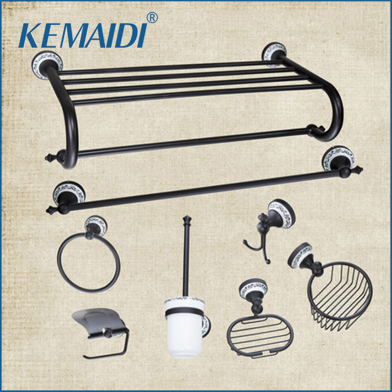 KEMAIDI Bathroom Towel Rack,Towel Ring,Paper Holder,Toilet Brush Holder,Frosted Glass Cup,Oil Rubbed Bronze Bathroom Accessories free shipping ba9105 bathroom accessories brass black bronze toilet paper holder