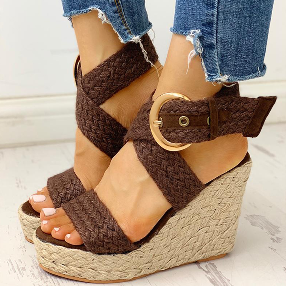 Sandals Party Shoes Platform Women Wedges High-Heels Bohemian-Style Large-Size 43 INS