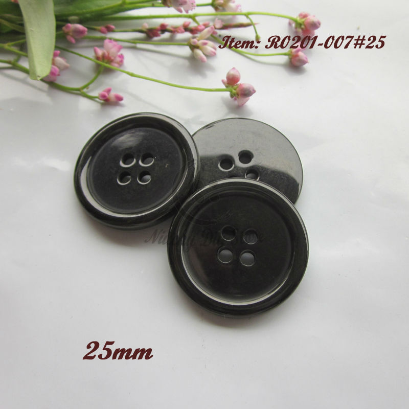 Round Jacket Button Black 4 Hole 15mm