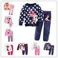 Roupa dos miúdos Do Bebê meninas define Vestuário ternos de Manga longa conjuntos de roupas Pijamas de Algodão Crianças Pijama Nightdress