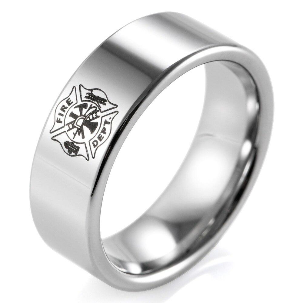 Shardon Classic Ring Men 8mm Pipe Tungsten Carbide Firefighter Shield  Design Outdoor Wedding Band Men Firefighter Rings