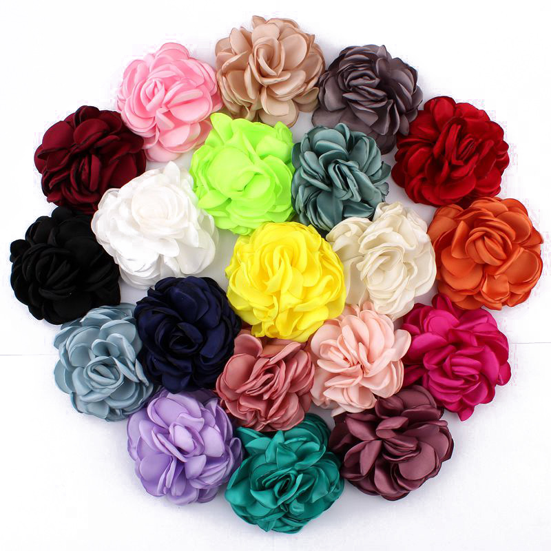120pcs lot 8CM 20 Colors Newborn Vintage Soft Artificial Fabric Flowers For Headbands Chic Hair Flowers