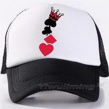 Novedad verano camionero gorras corazón poker fresco verano negro adulto  fresco béisbol malla red camionero gorras sombrero para. a8eca8c06672