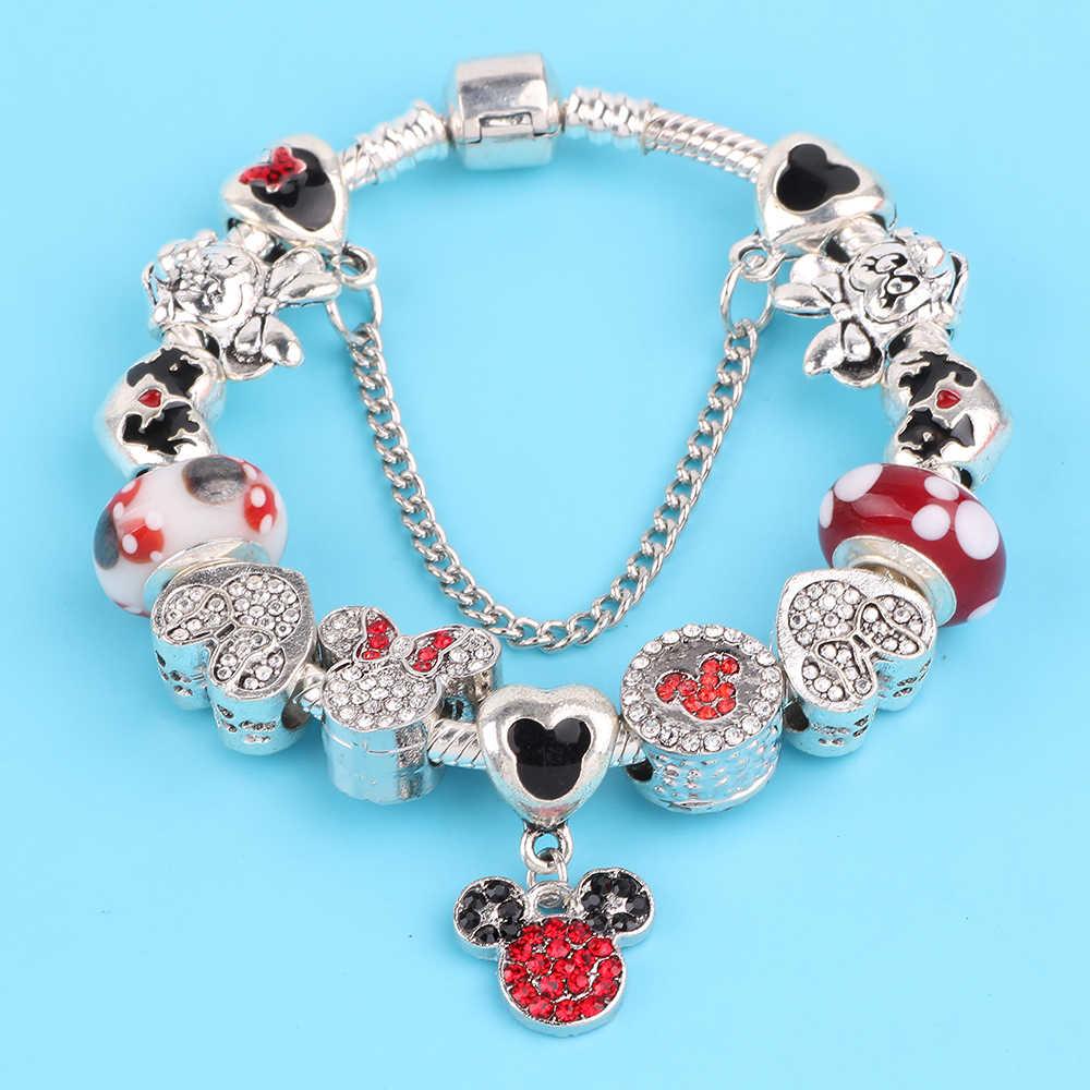AIFEILI Mickey Minnie pulsera de encanto con buen Marano granos DIY Fit pulsera de las mujeres Original para niños regalo especial
