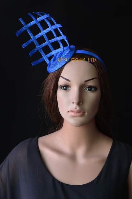 NEW Royal blue small sinamay fascinator sinamay loops for Tea Garden party  Royal Races Kentucky derby bf14c5a1aa8
