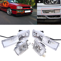 POSSBAY Front Lower Bumper Fog Light Halogen Lamp Assembly Fit for 1993/1994 1998 VW Golf/Jetta Models Auto External Lights