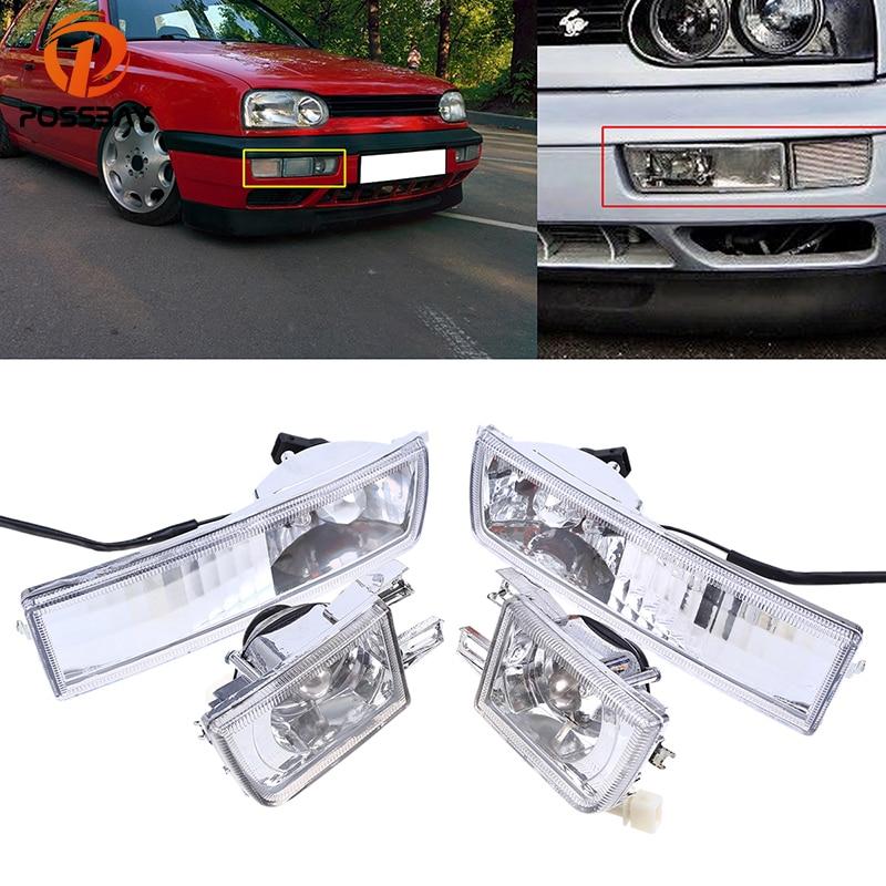 POSSBAY ensemble de lampe halogène de phare antibrouillard avant inférieur compatible avec les modèles VW Golf/Jetta 1993/1994-1998