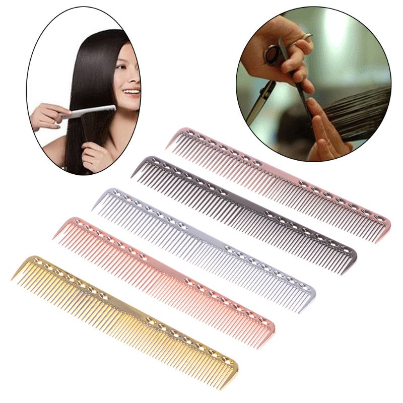 Men Women Aluminum Metal Cutting Comb Hair Hairdressing & Barbers Salon Combs Anti-static