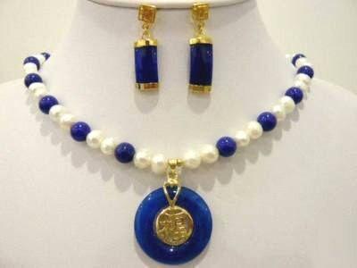 Чудесное благородство изысканные свадебные украшения Lucky женская красивый синий камень и Жемчужное ожерелье серьги 925 серебро