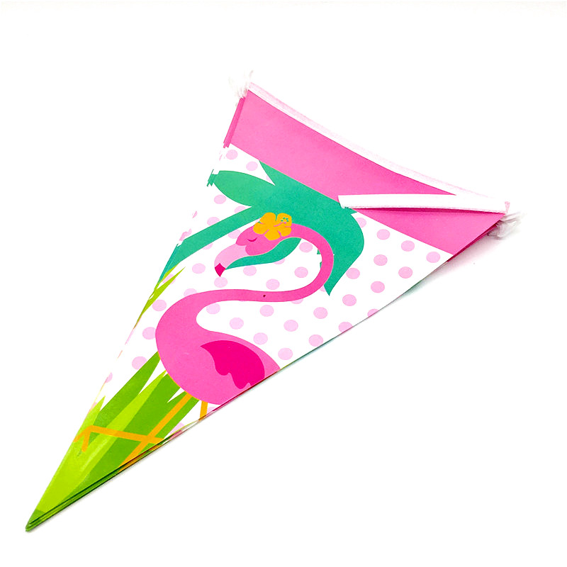 10Pcs/Pack Flamingo Theme Amall Flags Baby Happy Birthday Party Supplies Flags Paper Banners Bunting Kids Birthday Party