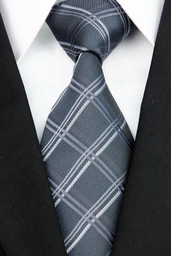 Comercio al por mayor NT0143 Gris A Cuadros Corbatas Nueva