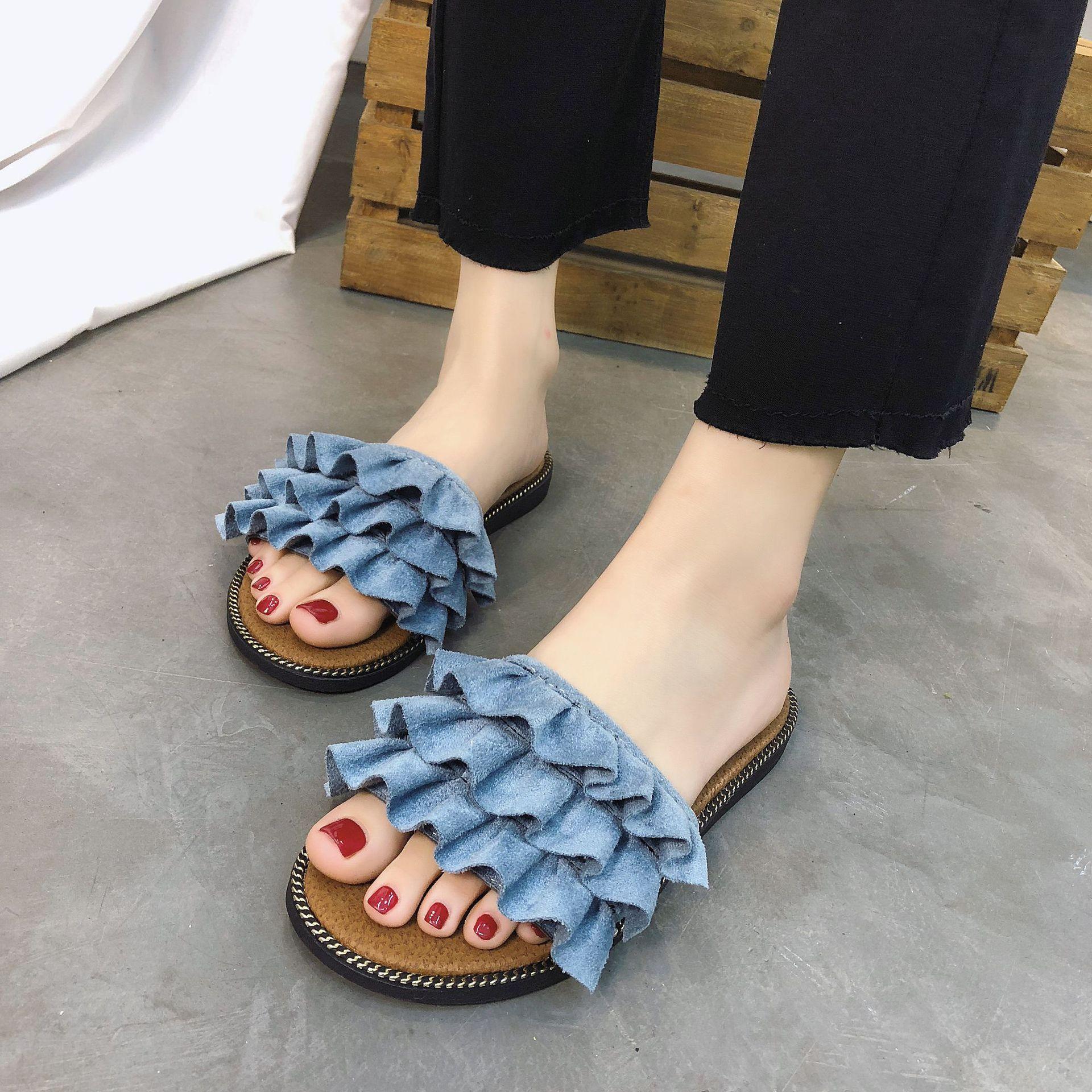 2019 Women Summer Beach Shoes Ruffles No Fur Slippers Flat Heels Flip Flops Ladies Bohemian Sandals Fold Platform Cotton Shoes in Slippers from Shoes
