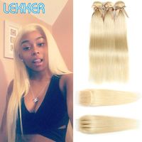 Lekker Hair 613 Blonde Hair Bundles With Closure Indian Straight Hair Remy Human Hair 2 3 4 Bundles With 4x4 Closure Free Dyeing