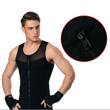 Фотография Men tshirt shapers slimming belt belly vest waist corsets posture corrector crossfit male breathable compression body shapewear