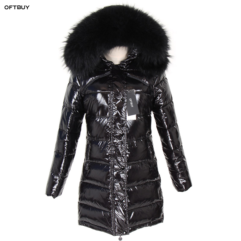 OFTBUY 2019 Winter Jacket Women Real Fur Coat natural Raccoon Fur Collar Long Parka Duck Down