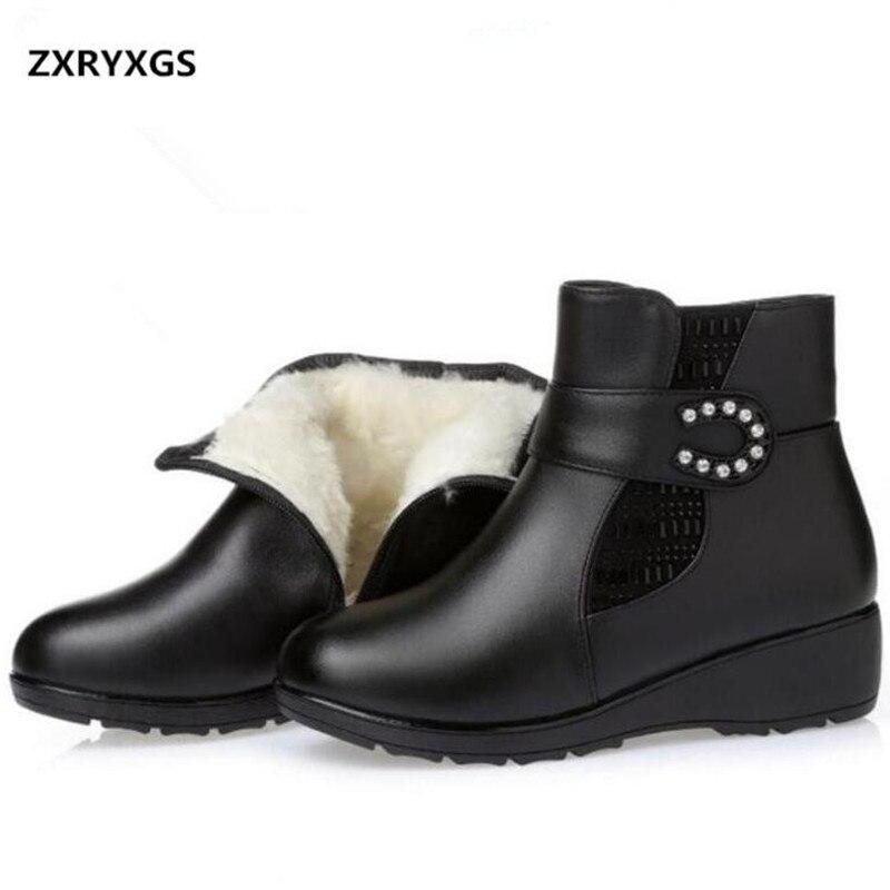 Grande taille strass laine chaussures femme bottes de neige chaudes bottes en cuir véritable chaussures de mode 2018 nouvelles femmes bottes hiver bottines