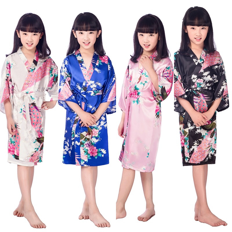 Lovely New Satin Pajama Kid / Children Sleepwear Wedding Flower girls Gown High Quality Kimono Robes Peacock Nightgown 2-14