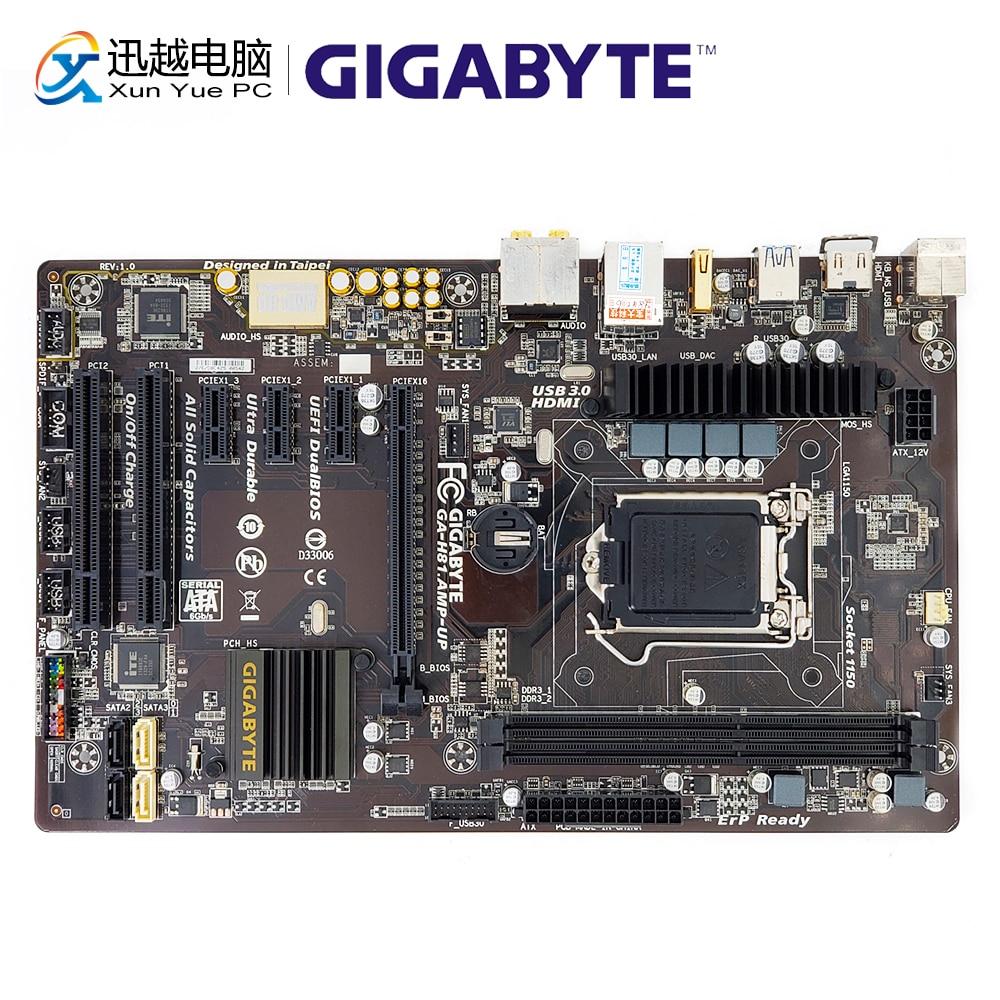 Gigabyte GA-H81.Amp-UP Desktop Motherboard H81.Amp-UP H81 LGA 1150 i3 i5 i7 DDR3 16G SATA3 USB3.0 HDMI ATX цены