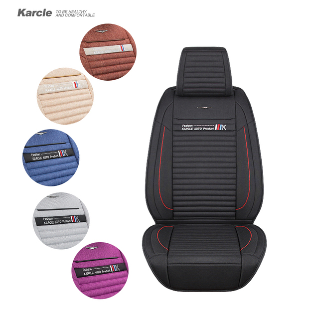 Karcle Car Seat Covers for Winter 1PCS Healthy Warm Breathable Healthy Linen Driver Seat Cushion Car-styling Auto Accessories