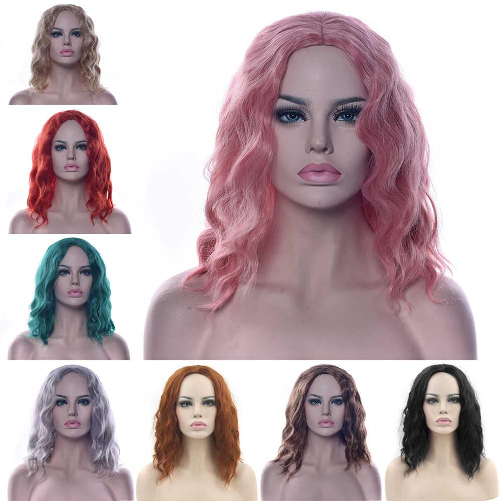 Soowee Afrikaanse Krullend Groen Bruin Synthetisch Haar Korte Pruik Vrouwen Haarstukken Party Haar Zwart Geel Rood Cosplay Pruiken