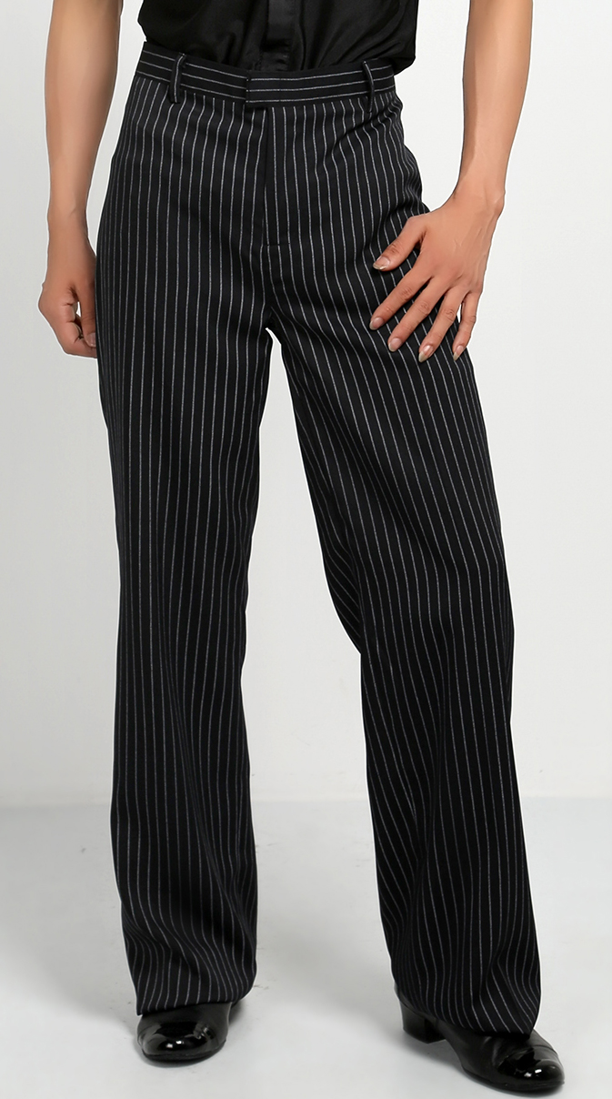 black white stripe Boy ballroom pants latin cha cha samba salsa boy men dancing pants with side pocket