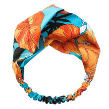 Fashion Women Girls Headbands Women Hair Accesorries Girl Head band Floral Print Hairbands Elastic Hair Band Bohemia Turban(China)