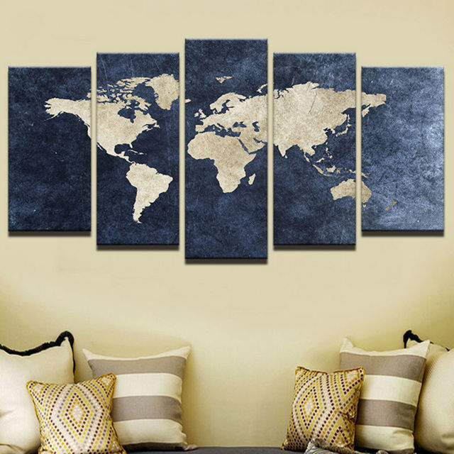 Modern Abstract Painting Print Canvas Poster Home Wall Pictures 5 Pieces Blue World Map Living Room Decorativ