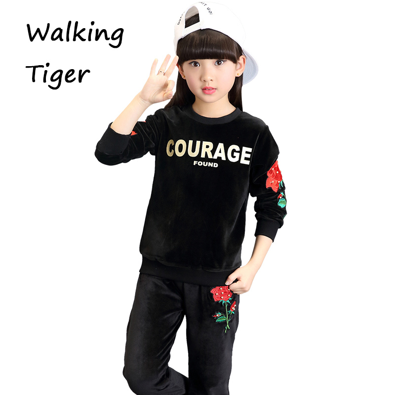 Girls tops + pants,clothing set boutique outfits girl leisure casual jogger track trousers fashion clothes fall 2017 new girls tops trousers clothes sets girl coat loose pants boutique outfits kids autumn 2017 new fashion children clothing suits
