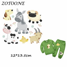 ZOTOONE Heat Transfer Clothes Stickers Farmer Animal Patches for T Shirt Jeans Iron-on Transfers DIY Applique Clothes Parches C