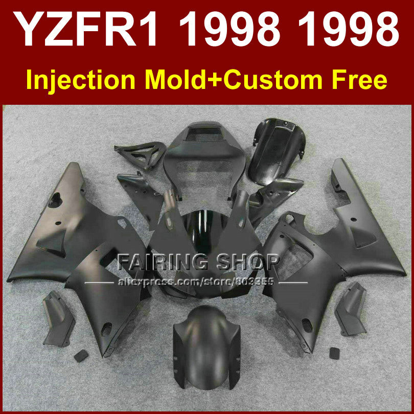 Matte black motorcycle fairings kit for YAMAHA  YZF R1 YZF1000 98 99 aftermarket fairing parts R1 1998 1999 YZFR1 WJI8 top quality aftermarket abs fairings for yamaha r1 2012 kit with free shipping