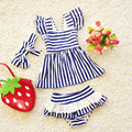 3pcs/Set Children Swimwear Baby Girls Bikini Cute Navy Style Swimwear Split Preschool Newborn Kids Swimsuit Bathing Suit 16A39