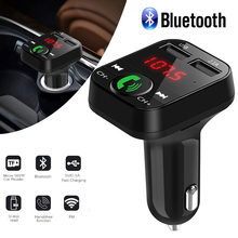 все цены на Portable  Handsfree Car Kit Wireless Bluetooth FM Transmitter Audio MP3 Player LED USB 2.1A Music Player TF card/U disk Charger онлайн