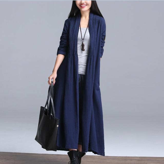 New Arrivals Autumn Cotton Long Sleeve Cardigan Coat Solid Color Women Maxi Long Design Quality Cotton Linen Winter Clothing