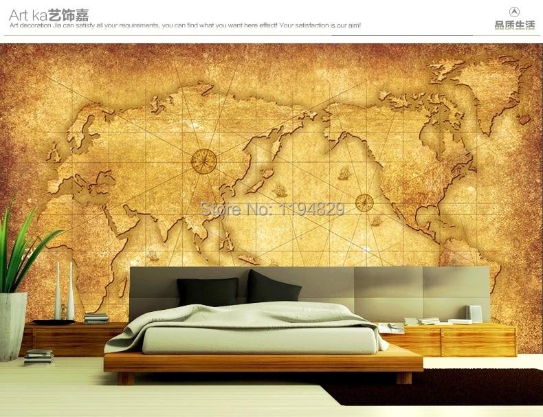 European Style Old World Map Large Mural Wallpaper Tv Sofa Setting