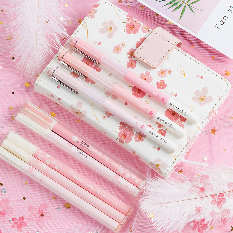 Korean Cherry Blossoms Pink And Mint Gel Pen Set Fine Point Pens Macaron Gift Stationery Office & School Supplies 0.5/0.38 Mm