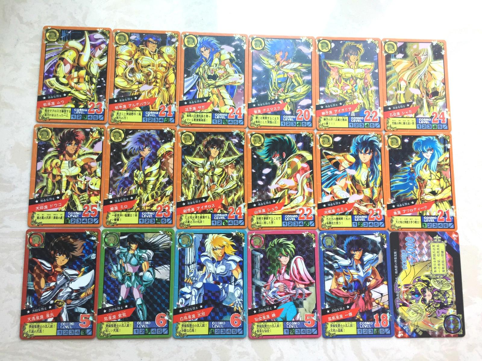 17 Teile/satz Saint Seiya Goldene Fünf Großen Stars Kampf Nacht Licht Spielzeug Hobbies Hobby Sammlerstücke Spiel Sammlung Anime Karten
