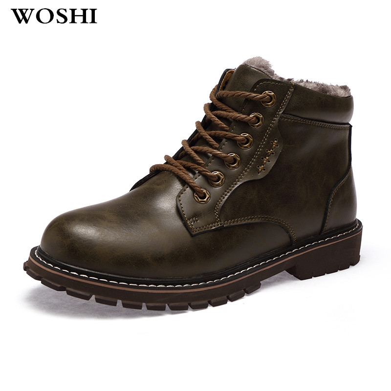winter men genuine leather Boots Fashio winter boots Warm Cotton ankle boots lace up fur men Shoes fashion footwear snow boots 5 xiaguocai new arrival real leather casual shoes men boots with fur warm men winter shoes fashion lace up flats ankle boots h599