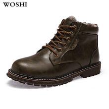 Winter mannen lederen Laarzen Fashio winter laarzen Warme Katoen enkellaarsjes lace up bont mannen Schoenen fashion footwear sneeuw laarzen 5(China)