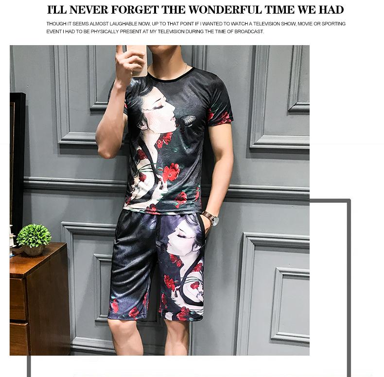 Loldeal Summer 3D Beauty Women's Print Set Ice Silk Short Sleeve T Shirt + Shorts Set Men's Print Butterfly Men's Set-in Men's Sets from Men's Clothing on Aliexpress.com   Alibaba Group 8