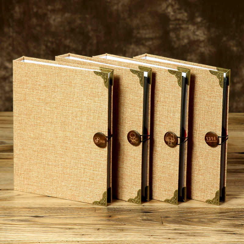 Creative 30 Pcs / 60 Pages Jute DIY Craft Card Scrapbook Simple Photo Albums Loose Leaf with Vintage Button Wedding Guest Book