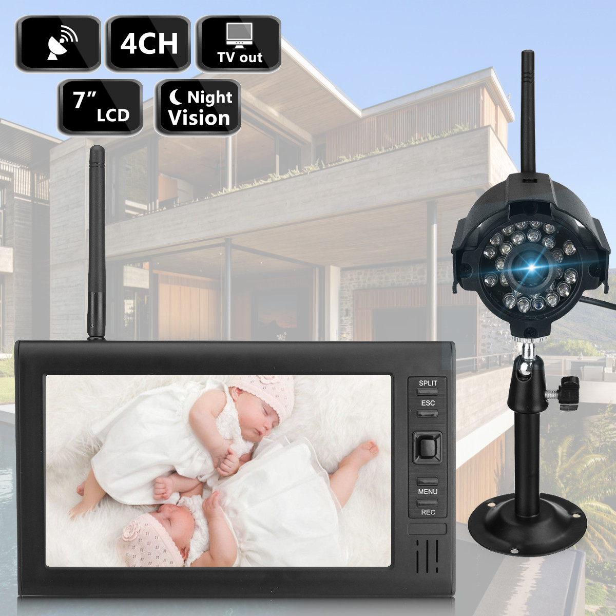Wireless CCTV Camera Kit Home Security Surveillance System 7inch LCD Baby Monitor DVR Motion Detect UK Standard Plug