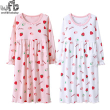 Розничная, домашняя одежда из хлопка с длинными рукавами для детей от 3 до 14 лет ночная рубашка для маленьких девочек осенне-Весенняя Пижама с рисунком клубники