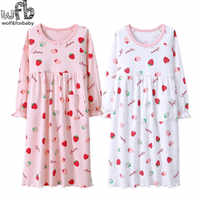 Retail 3-14 years long-sleeves cotton children's home wear nightdress girl baby pajamas autumn fall Spring Strawberry