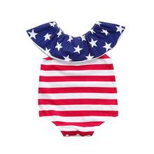 2018 New baby rompers Newborn Baby boy Girl Short Sleeve Stars Striped Rompers Jumpsuit 4th Of July Outfits Setc613(China)