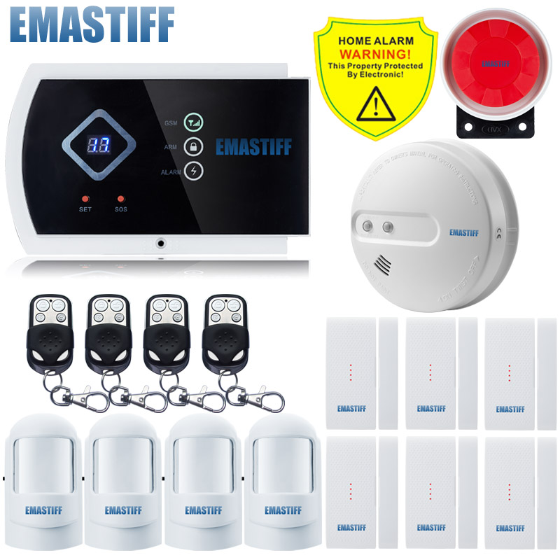 gsm alarm system smart IOS android APP NEW home Fire Smoke Sensor security System Built-in speaker for intercom Russian English wireless smoke fire detector for wireless for touch keypad panel wifi gsm home security burglar voice alarm system