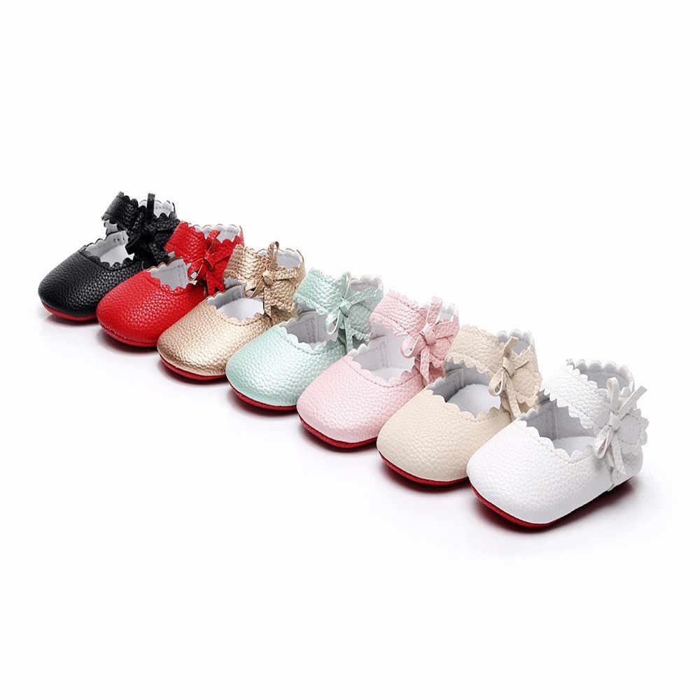 Bebê Recém-nascido da criança meninas sapatos autum Arco Primeira Princesa Walkers Do Bebê Macio Anti-Slip Mocassins Sapatinhos Para Bebe De Menina