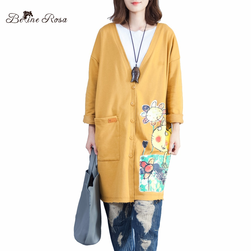 BelineRosa Women's Autumn   Trench   Coats Large Size Women Clothing Kawaii Style Cat Printing Big V Neck Coats Women ALWY0001