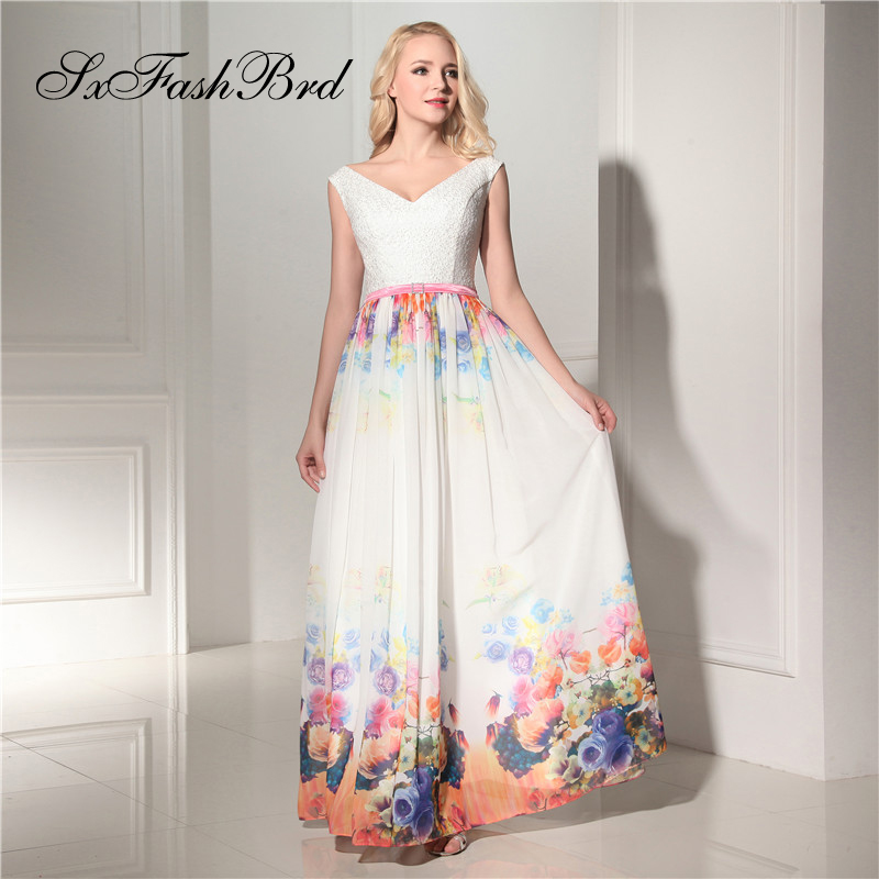 Robe Longue V Neck Lace Top A Line Long Multi Chiffon Elegant Evening   Dress   Summer Party   Prom     Dresses   for Girls Vestito Lungo