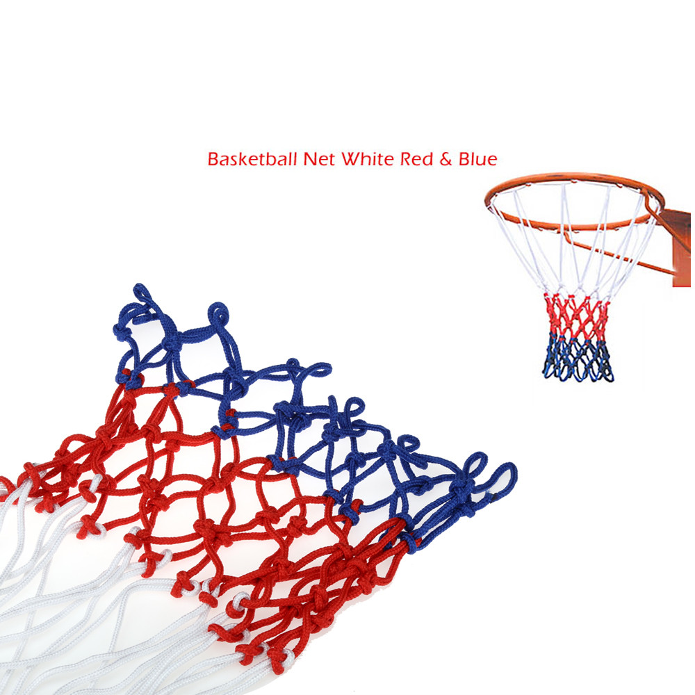 High quality striking White Red Blue Replacement Basketball Net Heavy Duty All Weather Hoop Goal Rim IndoorOutdoor Durable Nylon